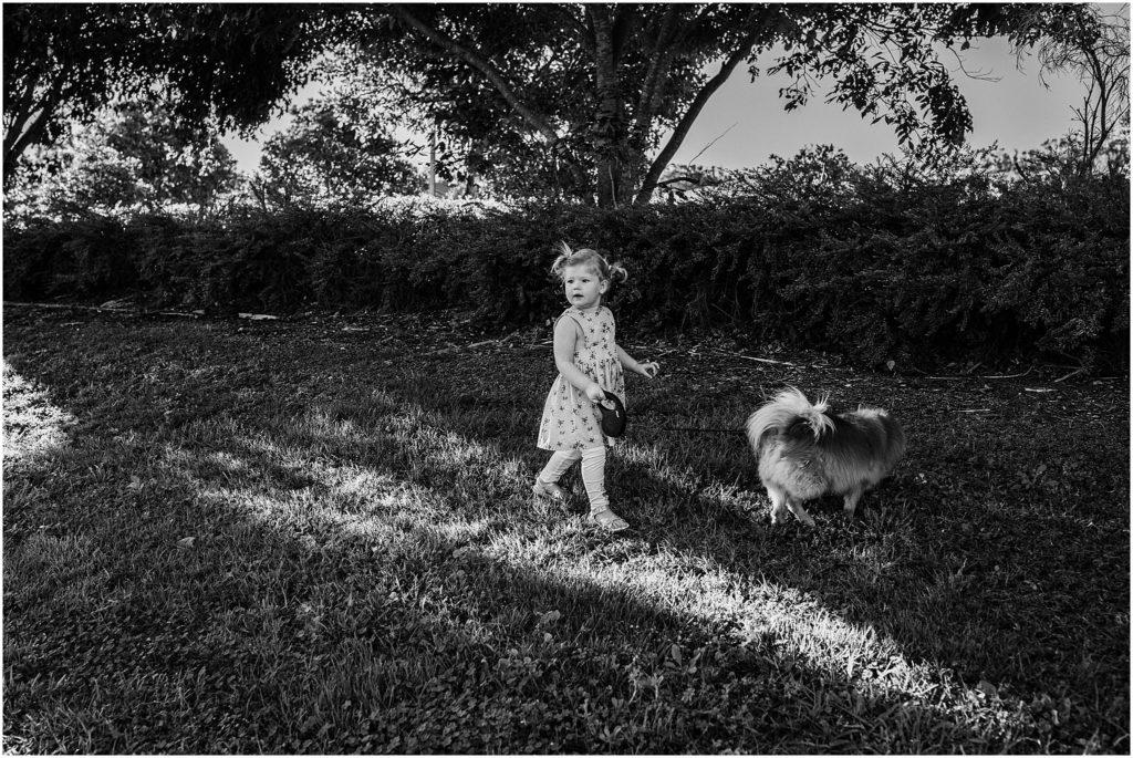Little girl walking dog in the park.