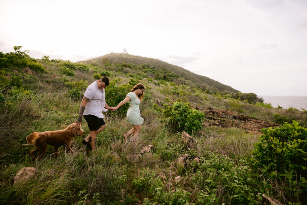 Trudy leads Beau and Mopsy on an adventures path through green grass at Palleranda in Townsville.