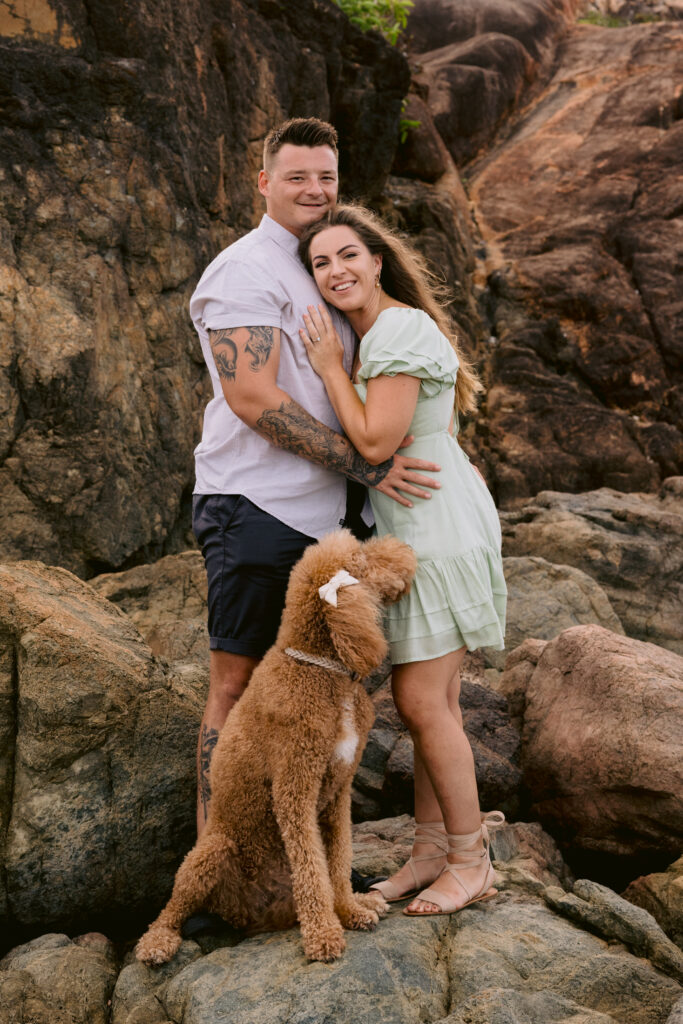 Beau and Trudy's engagement photoshoot at the beach in Townsville with their dog Mopsy